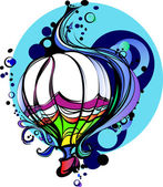 Colorful Vector Illustration of a Hot Air Balloon — Stock Vector