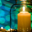 Stock Photo: Candle in glass jar