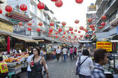 BANGKOK - December 30: Red lanterns and decorations span Yaowara — Stock Photo