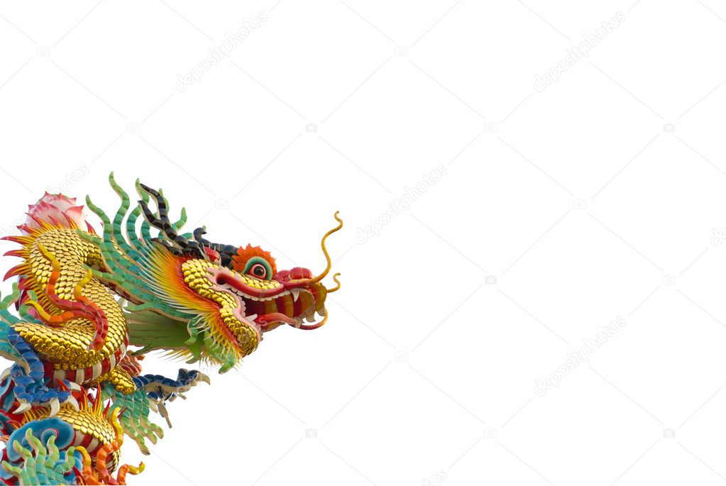 Chinese golden dragon on white background isolated — Stock Photo #8342938
