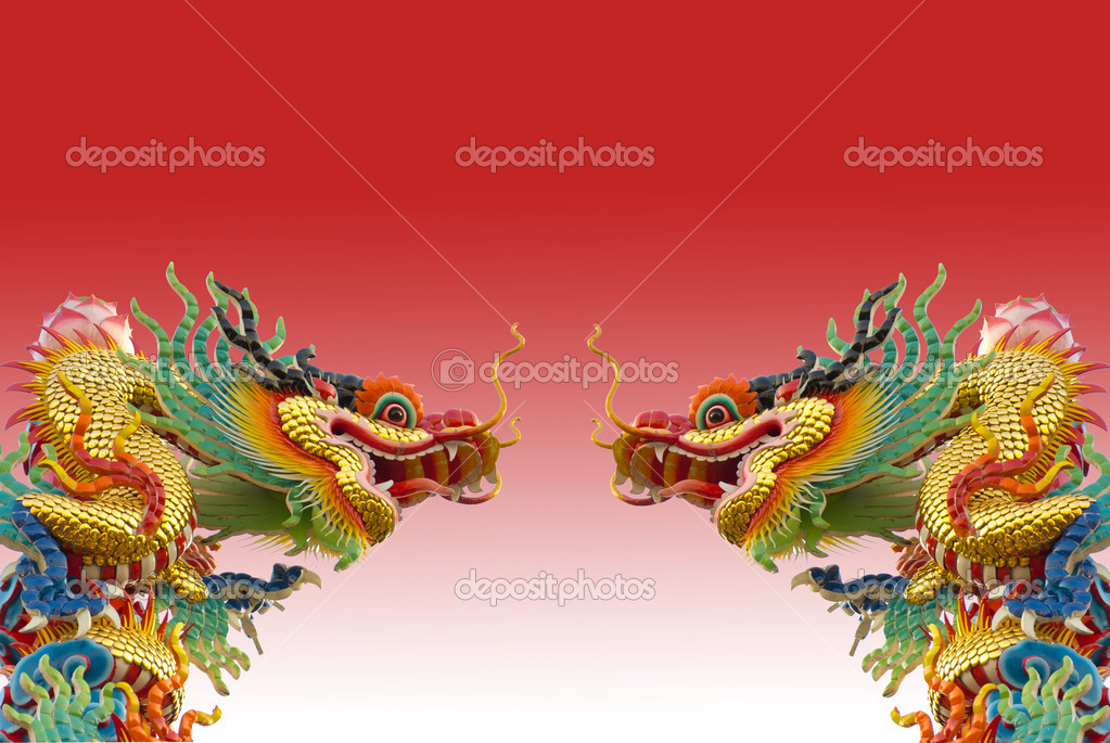Chinese golden dragon on red background isolated — Stock Photo #8343150