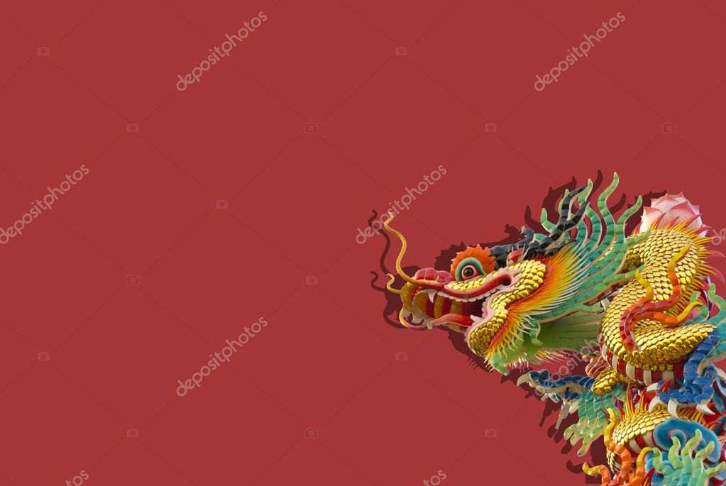 Chinese golden dragon on red background isolated  Stock Photo #8343188