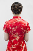 Cheongsam,is for important occasions wear by during new year da — Stock Photo
