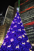 Hong Kong Night Scene with Christmas Tree — Stock Photo