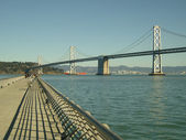 San francisco landmark bay bridge crossing to oakland — Stock Photo