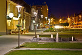 Town of Krizevci walkway night scene — Stock Photo