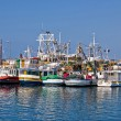 Fishing boats fleet in Harbor - Stock Photo
