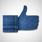 Denim Thumb up — Stock Vector