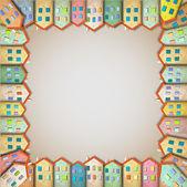 рама красочные дома — Cтоковый вектор