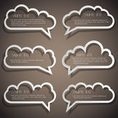 Set of speech bubbles from paper outline — Stock Vector