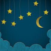 Luna e stelle in carta — Vettoriale Stock