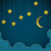 Moon and stars made from paper — Vector de stock