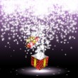 Red gift box with fireworks — Stock Vector