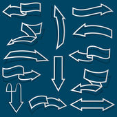 Setas a partir do contorno do papel — Vetorial Stock