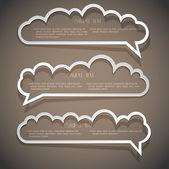 Drei sprechblasen aus papier — Stockvektor