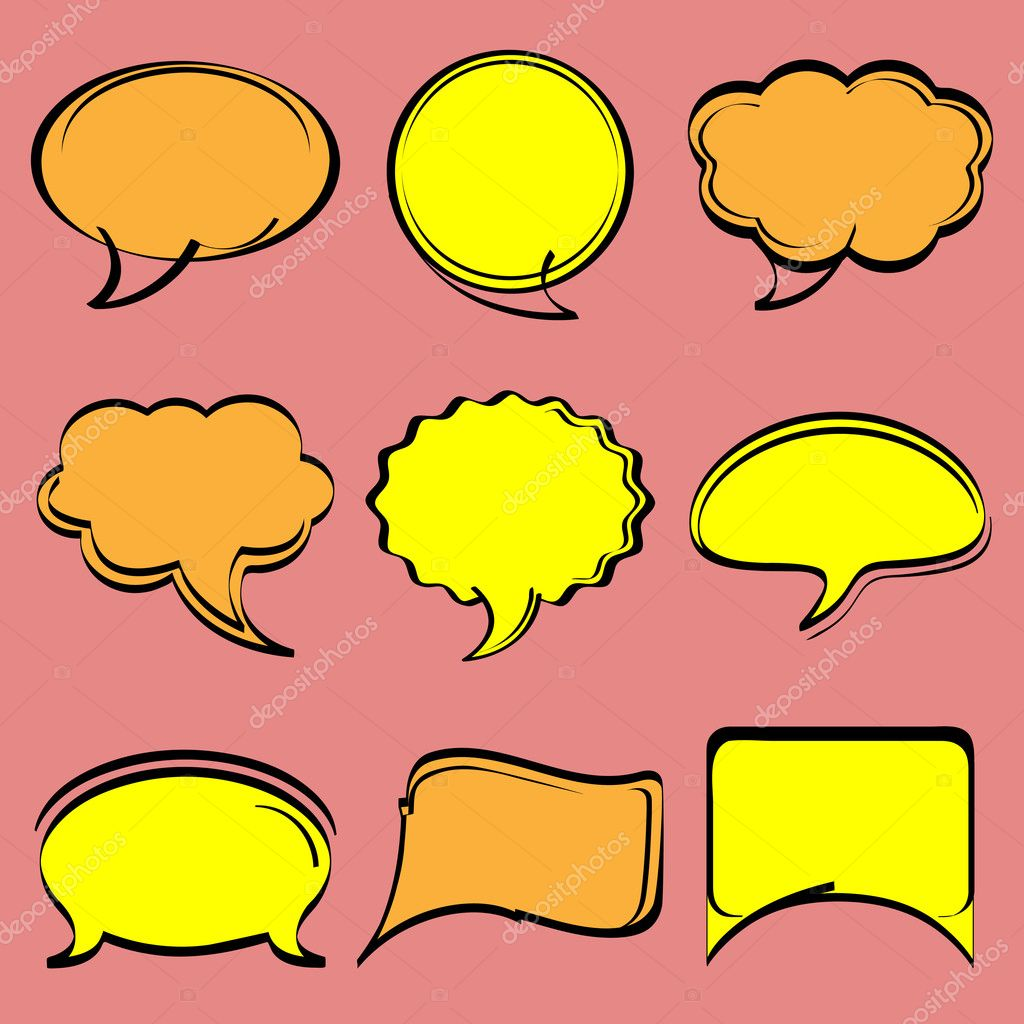 Speech bubbles in comic style.Vector set — Stock Vector #10555984