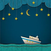 Paper cruise liner at night — Stockvector