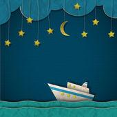 Papírové výletní lodi v noci — Stock vektor