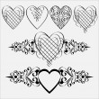 Calligraphic hearts - Stock Vector