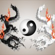 Dragons origami yin and yang - Stock Vector