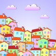 Colorful Little town — Stock Vector