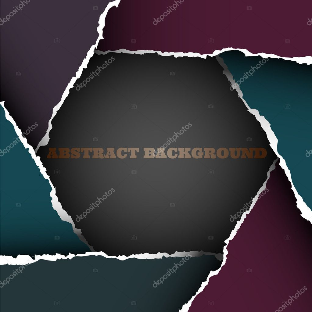 Background of torn paper  in form hexagon.Vector eps10 — Stock Vector #9682635