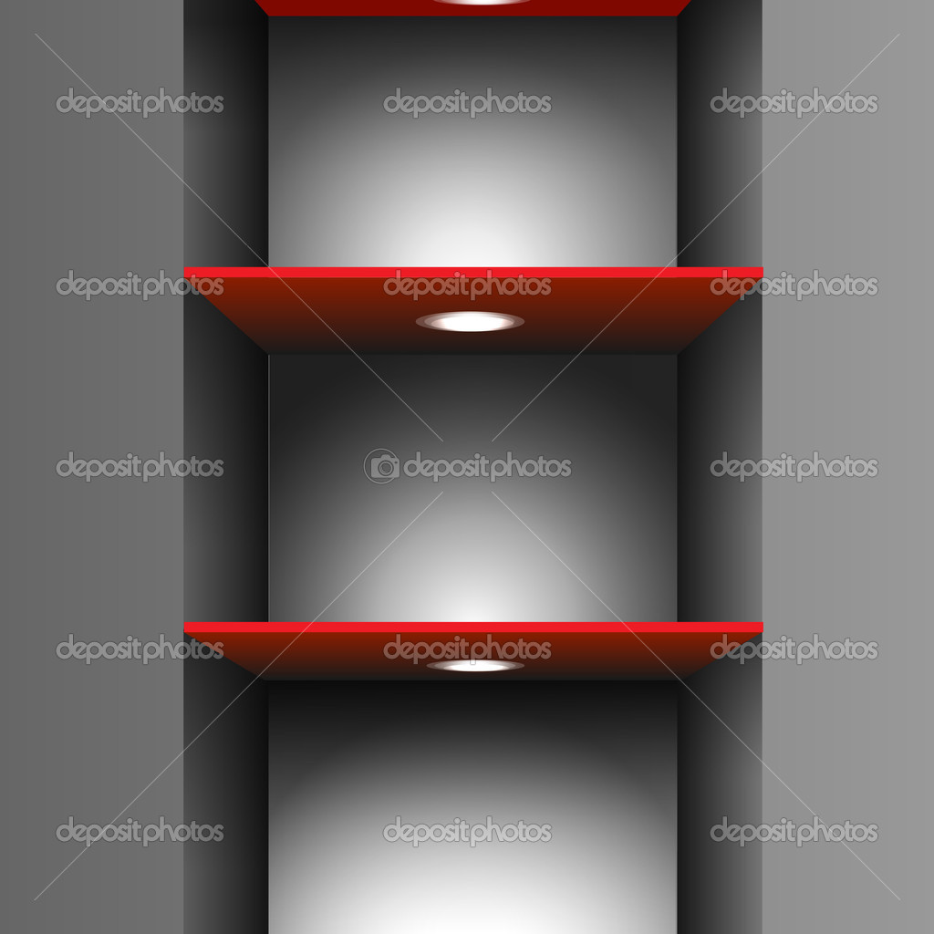 Red empty shelf with lighting.Vector eps10 — Stock Vector #9683233