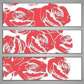 横幅与红玫瑰 — 图库矢量图片