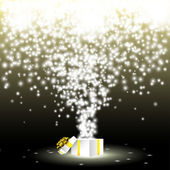 Gift box with fireworks from lights — Stock Vector
