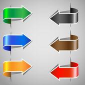Sistema de pegatinas papel de flecha — Vector de stock