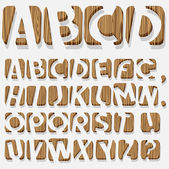 Wooden 3D alphabet — Vector de stock