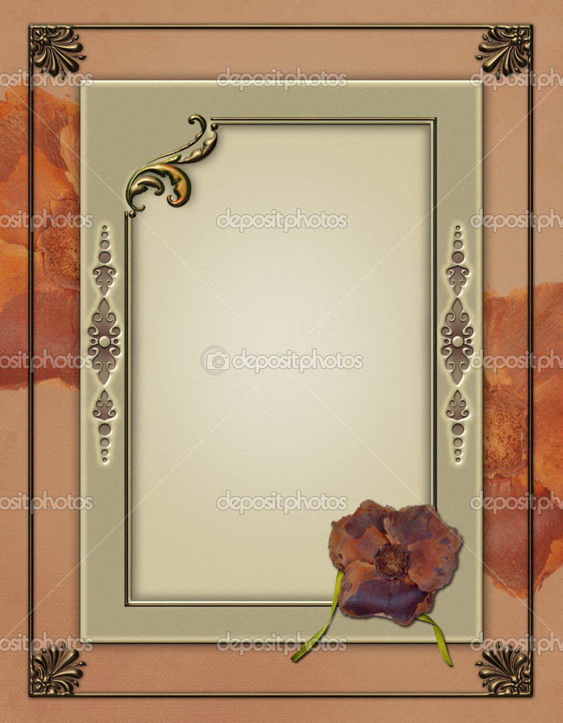 Framed Photobackground with elegant flower background, hand painting and embellishment elements for use in design, page layout and scrapbooking  Stock Photo #9942725