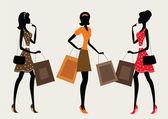 Drie silhouetten van een vrouw winkelen — Stockvector