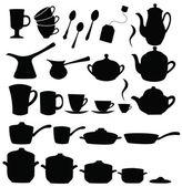 Tea, coffee ans pot sets — Stock Vector