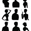 9 Silhouettes of men and women — Stock Vector