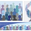 Set of illustrations with crowd — Stock Vector