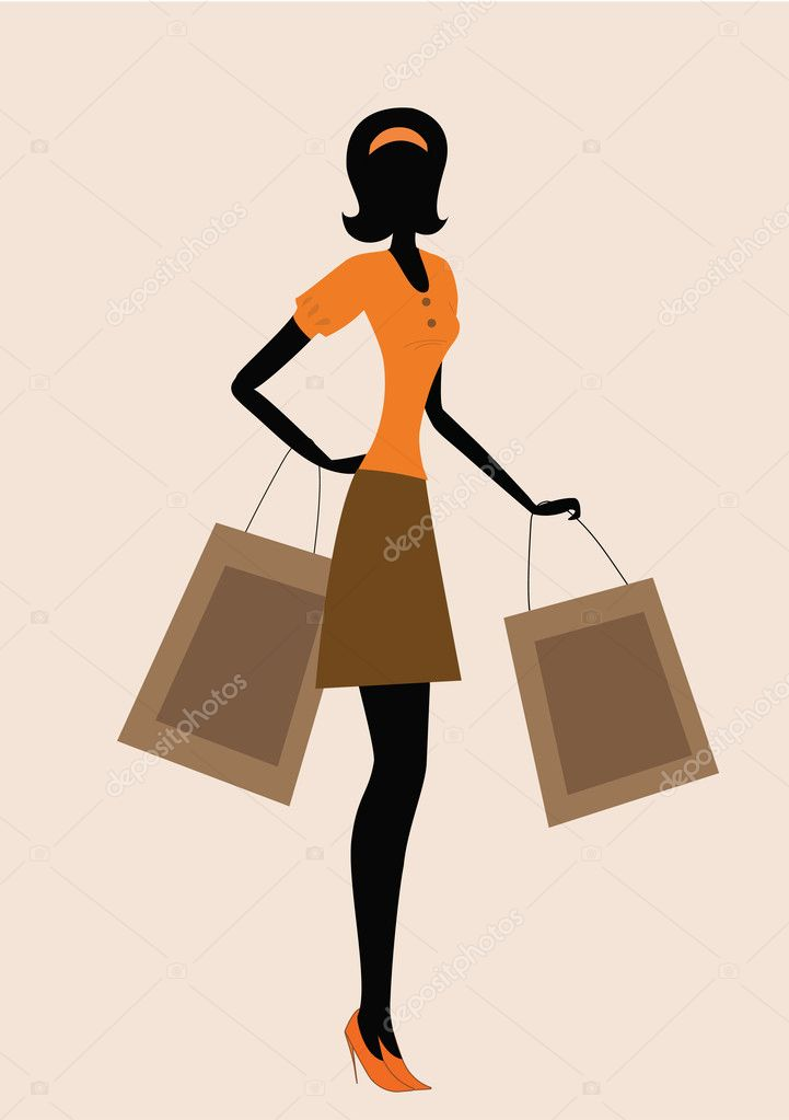 Silhouette of a woman. shopping, vintage style  — Stock Vector #9260371
