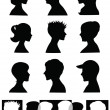Stock Vector: Silhouettes, profiles
