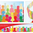 Stock Vector: Set of illustrations with crowd, including banner with place for text
