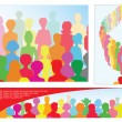 Set of illustrations with crowd, including banner with place for text — Stock Vector