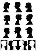 Silhouettes, profiles — Stock Vector