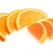 Stock Photo: Slices of orange and jelly candies made as similar