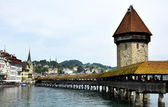 Lucern Switzerland, old wooden bridge view. — Stock Photo