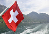 Swiss flag boat. — Stock Photo