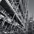 Giant scaffolding, black and white — Stock Photo