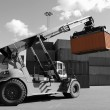 Forklift and cargo container — Stock Photo
