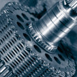 Titanium gears and chains — Stock Photo