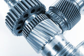 Gears and pinion against white — Stock Photo