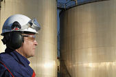 Engineer and oil, close ups — Stock Photo