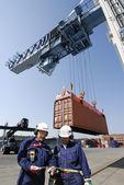 Grue de dockers, de camions et de conteneurs — Photo